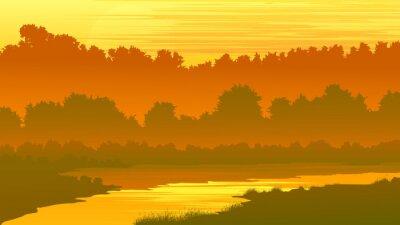 Naklejka Ilustracji wektorowych lesie z rzeka o zachodzie słońca.