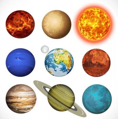 Naklejka Ilustracji wektorowych planet Układu Słonecznego i słońce samodzielnie na whi
