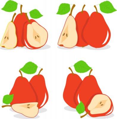 Naklejka Ilustracji wektorowych Red gruszek na przezroczystym tle