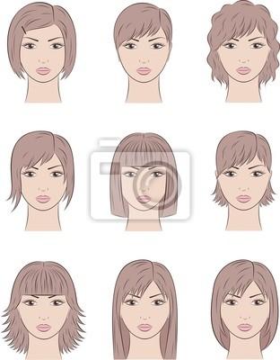 Ilustracji Wektorowych Z Twarzami Kobiet Różne Fryzury Naklejki Redro