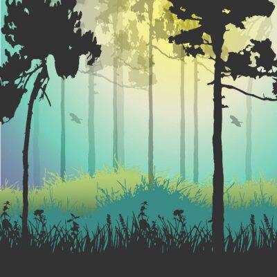 Naklejka Ilustracji wektorowych z zielonego lasu