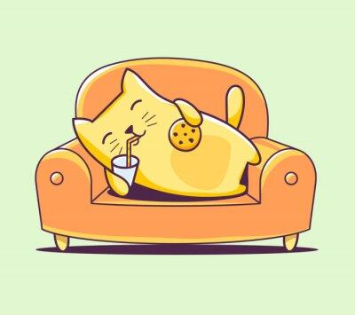Naklejka Ilustracji wektorowych znaków kolor kota leżącego na kanapie dowcip