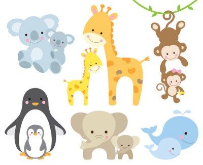 Naklejka Ilustracji wektorowych zwierząt i dziecka w tym koali, pingwiny, żyrafy, małpy, słonie, wieloryby.