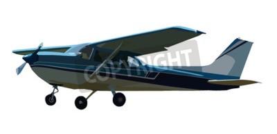 Naklejka Ilustrowany mały niebieski samolot wyizolowanych na białym tle