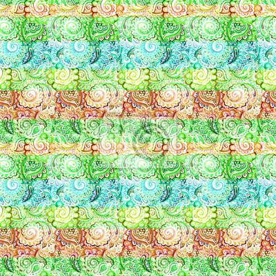 Indian abstrakcyjny wzór (pasek, Paisley). Azjatyckie kolor wody