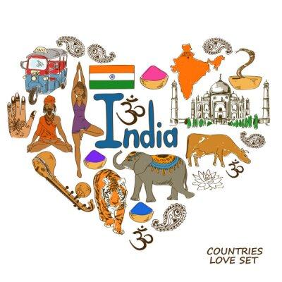 Naklejka Indian symbole w kształcie serca koncepcji