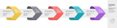 Naklejka Infographic arrows with 5 step up options and elements. Vector template in flat design style, pastel colors