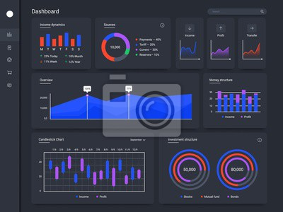 Infographic dashboard. Finance application charts, statistical web page UI screen and statistic chart diagrams vector template. Financial audit, business data graphic and income dynamics