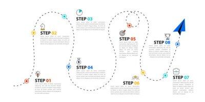 Naklejka Infographic design template. Timeline concept with 8 steps