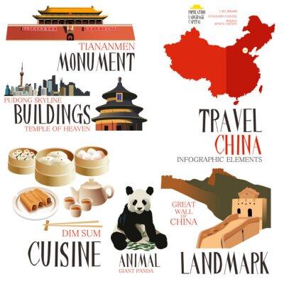 Naklejka Infographic elementy do podróży do Chin