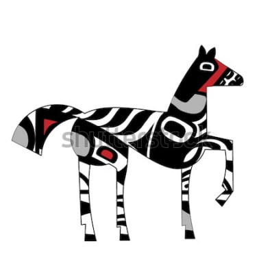 Naklejka Inspiracja graficznym koniem północno-indyjskim
