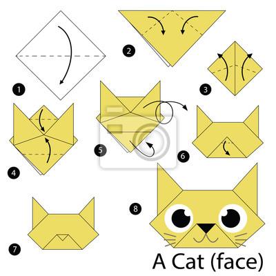 naklejka instrukcje krok po kroku jak zrobi origami kot. Black Bedroom Furniture Sets. Home Design Ideas