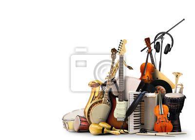 Naklejka Instrumenty muzyczne, orkiestra lub kolaż muzyki