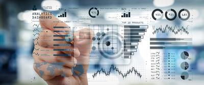 Naklejka Inteligencja (BI) i analityka biznesowa (BA) z kluczowymi wskaźnikami wydajności (KPI) koncepcja pulpitu nawigacyjnego. Dokumenty biznesowe na stole biurowym z inteligentnym telefonem i cyfrowym table