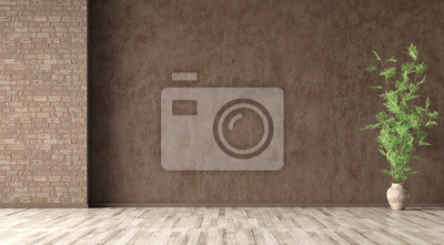 Naklejka Interior background of room with brown stucco wall and vase with branch 3d rendering