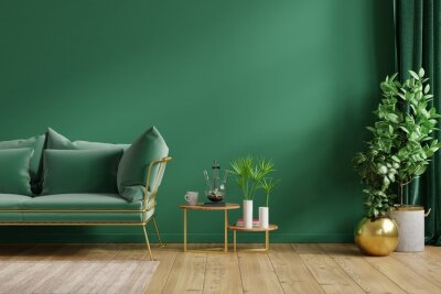Naklejka Interior mockup green wall with green sofa and decor in living room.