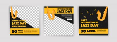 Naklejka international Jazz Day. Jazz Day banner of music band in concert. Banners vector for social media ads, web ads, business messages, discount flyers and big sale banner.