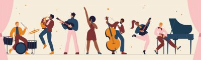 Naklejka International jazz day, retro music festival party panorama concert vector illustration. Live music band playing musical instrument, woman singer and musicians with saxophone piano drum background