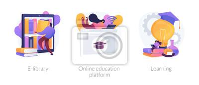Naklejka Internet bookstore, remote training classes service, academic graduation icons set. E-library, online education platform, learning metaphors. Vector isolated concept metaphor illustrations