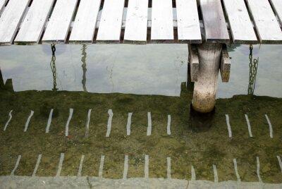 Naklejka Inwestorzy, dok łodzi na jezioro z odbicia światła