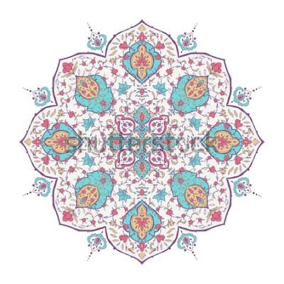 Naklejka Islamski kwiatowy wzór w stylu wiktoriańskim. Ozdobne do karty do kawiarni, sklepu, druku, baneru, zaproszenia na ślub, okładki książki, certyfikatu. Zapisz datę. Indie, arabski turecki islam w Dubaju