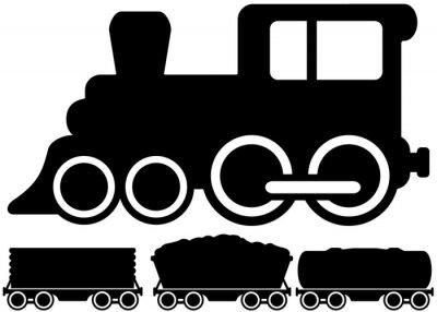 Naklejka isolated locomotive train and car