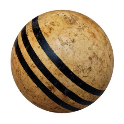 Isolated objects: old wooden croquet ball, shabby and stained, on white background