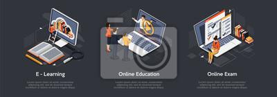 Naklejka Isometric set of education concept. E-Learning, Online education, online exam.
