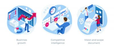 Naklejka Isometric Vision and scope document, Competitive intelligence, Businnes growth. Expert team for Data Analysis, Business Statistic, Management, Consulting, Marketing.