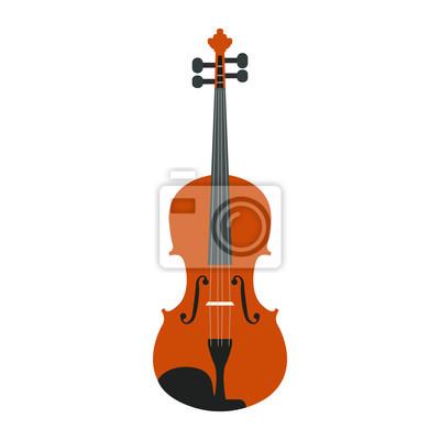 Naklejka Izolowane drewniane skrzypce na białym tle, ilustracji wektorowych