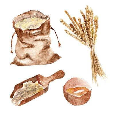 Naklejka Izolowane zestaw z chleba, mąki, pszenicy. Ilustracja akwarela