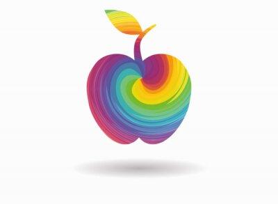 Naklejka jabłko kolorowe ikony