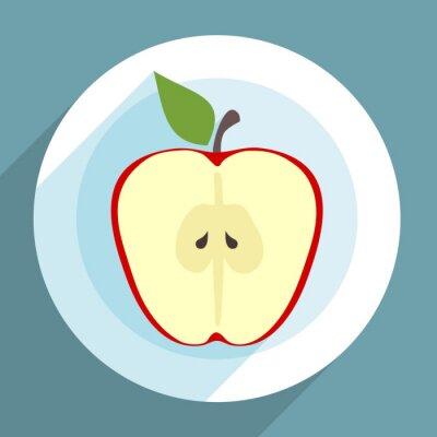 Naklejka Jabłko plasterek na talerzu w płaskiej konstrukcji z długim cieniem