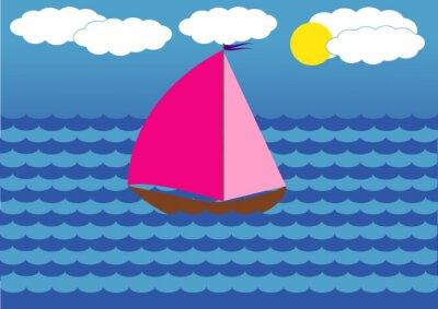 Naklejka jacht o szkarłatnych żaglach pływających na morzu