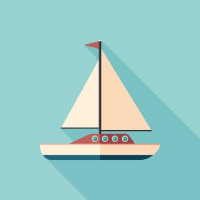 Naklejka Jacht żaglowy płaski kwadrat ikona z długimi cieniami.