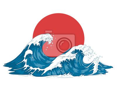 Naklejka Japanese wave. Japanese big waves, raging ocean and vintage sea water vector illustration