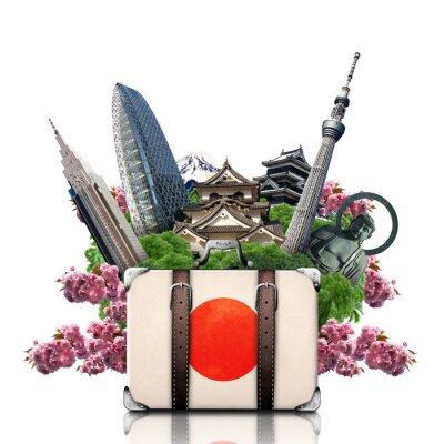Naklejka Japonia, Japonia, zabytki, podróże i retro walizka
