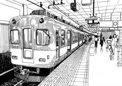 Naklejka Japonia pociąg metra na stacji platformy Osaka rysunek tuszem szkic s.