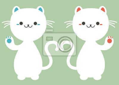 Naklejka Japoński szczęście kot Maneki Neko
