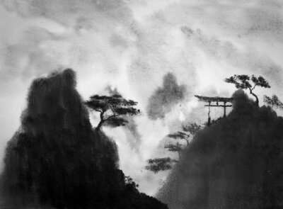 Naklejka Japońskie gór i meble ogrodowe