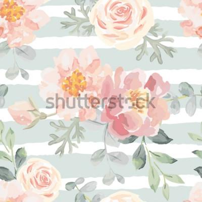 Naklejka Jasnoróżowe róże i piwonie z szarymi liśćmi na pasiastym tle. Wektor wzór Ilustracja romantyczne kwiaty ogrodowe. Wyblakłe kolory.