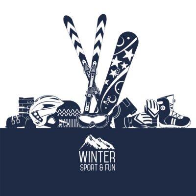 Naklejka Jazda na nartach. Ekstremalne sporty zimowe.