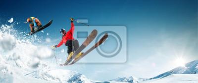 Naklejka Jazda na nartach. Snowboard. Ekstremalne sporty zimowe