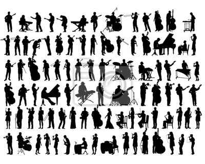 Naklejka Jazz musicians with instruments on stage. Isolated silhouettes of people on a white background