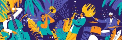 Naklejka Jazz quartet. Musicians performing music on abstract floral background.