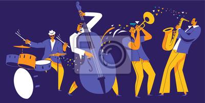 Naklejka Jazz quartet. Musicians with abstract music wave on dark blue background.
