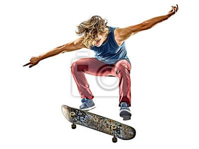 Naklejka Jeden Caucasion skateboarder m? Odych nastolatek cz? Owiek skateboarding wyizolowanych na bia? Ym tle