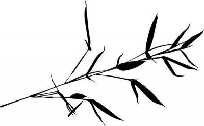 Naklejka jeden czarny bambus oddział samodzielnie na białym tle