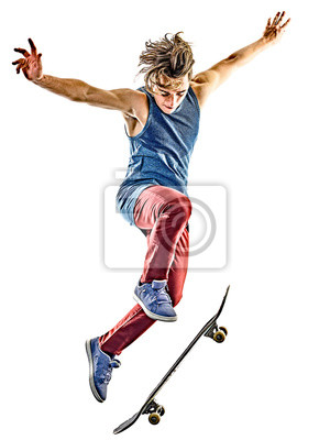 Naklejka jeden kaukaski mężczyzna skater młodych nastolatek na deskorolce na białym tle