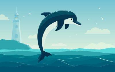 Naklejka Jeden skoki Delfin, błękitne morze w tle z falami i latarni. Ilustracja wektorowa
